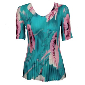 3/4 sleeve mini pleat top - poppies aqua print