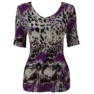 3/4 sleeve mini pleat top - reptile floral purple
