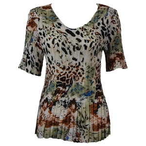 3/4 sleeve mini pleat top - reptile floral green
