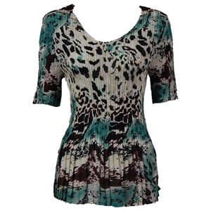 3/4 sleeve mini pleat top - reptile floral teal