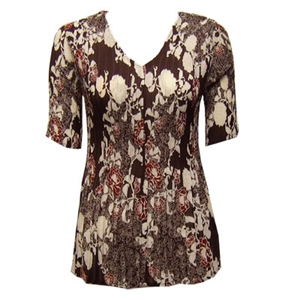 3/4 sleeve mini pleat top - chocolate ivory floral
