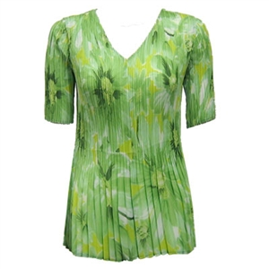 3/4 sleeve mini pleat top - daisies green