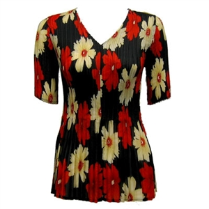 3/4 sleeve mini pleat top - hibiscus red-tan