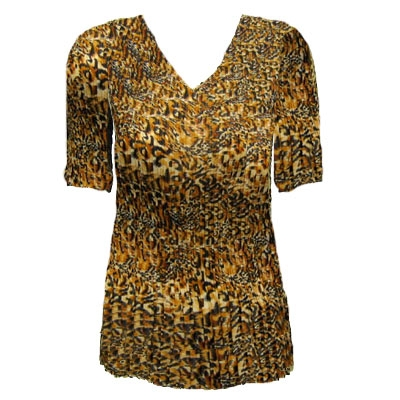 3/4 sleeve mini pleat top - leopard print