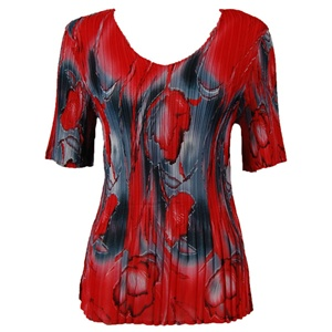 3/4 sleeve mini pleat top - tulips charcoal red