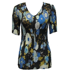 3/4 sleeve mini pleat top - mums blue black