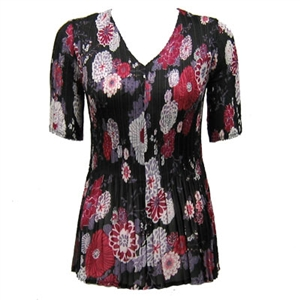 3/4 sleeve mini pleat top - mums pink black