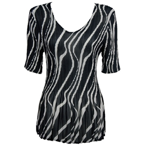 3/4 sleeve mini pleat top - ribbon black white