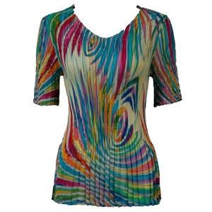 3/4 sleeve mini pleat top - rainbow swirl on ivory