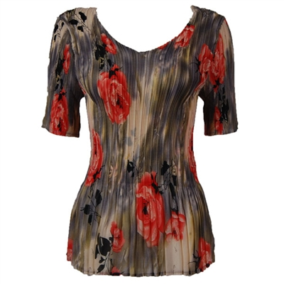 3/4 sleeve mini pleat top - roses grey coral