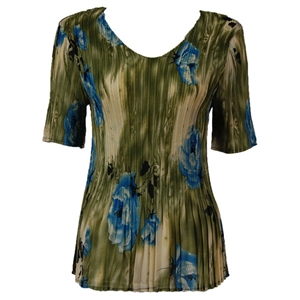 3/4 sleeve mini pleat top - roses olive blue