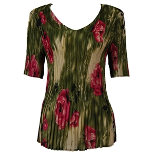 3/4 sleeve mini pleat top - roses olive pink