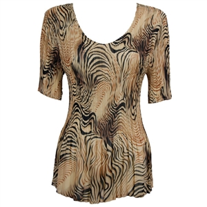 3/4 sleeve mini pleat top - swirl animal