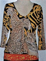 3/4 sleeve top with rhinestones - leopards and tigers