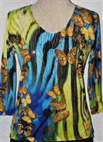 3/4 sleeve top with rhinestones - butterflies on blue/green