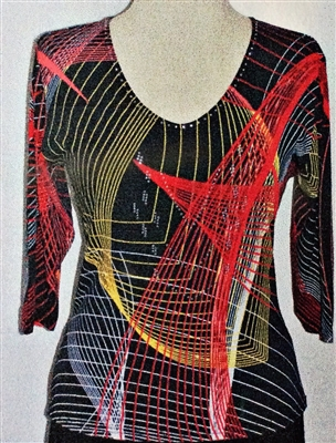 3/4 sleeve top with rhinestones - dynamic lines