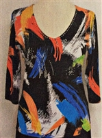 3/4 sleeve top with rhinestones - blue/orange/white on black