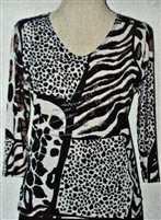 3/4 sleeve top with rhinestones - black/white mixed animal print