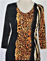 3/4 sleeve top with rhinestones - black/animal streak