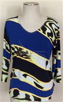 3/4 sleeve top with rhinestones - blue/gold/animal diagonal bands