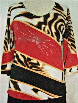 3/4 sleeve top with rhinestones - red/gold/animal diagonal bands