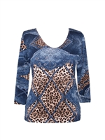 3/4 sleeve top with rhinestones - leopard diamonds on blue