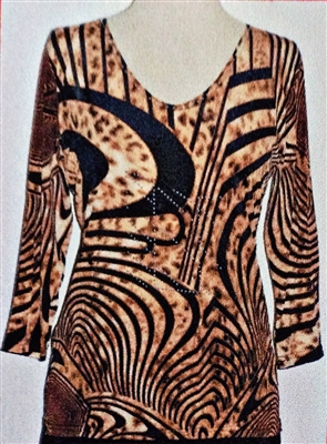 3/4 sleeve top with rhinestones - black print on gold leopard