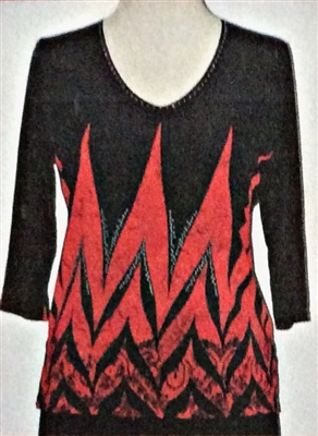 3/4 sleeve top with rhinestones - red zig zag