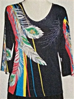 3/4 sleeve top with rhinestones -  feathers on primary colors