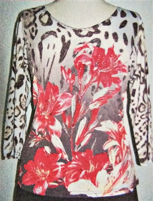 3/4 sleeve top with rhinestones - red flowers on white leopard