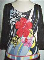 3/4 sleeve top with rhinestones - red wild flower on print