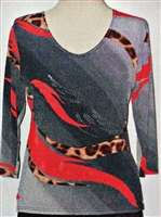 3/4 sleeve top with rhinestones - red/animal ribbon on grey
