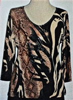 3/4 sleeve top with rhinestones - black/brown animal print