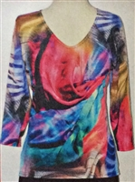 3/4 sleeve top with rhinestones - multicolor drape print