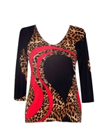 3/4 sleeve top with rhinestones - red black and leopard whirl
