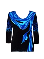 3/4 sleeve top with rhinestones - bright blue scarf and leopard pattern on black