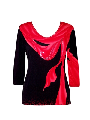 3/4 sleeve top with rhinestones - bright red scarf on black