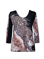 3/4 sleeve top with rhinestones - hunting leopard print