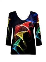 3/4 sleeve top with rhinestones - colorful horns on black