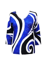 3/4 sleeve top with rhinestones - blue white and black bold curves