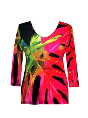 3/4 sleeve top with rhinestones - large red jungle leaves