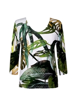 3/4 sleeve top with rhinestones - green jungle leaves