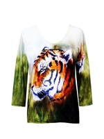 3/4 sleeve top with rhinestones - tiger