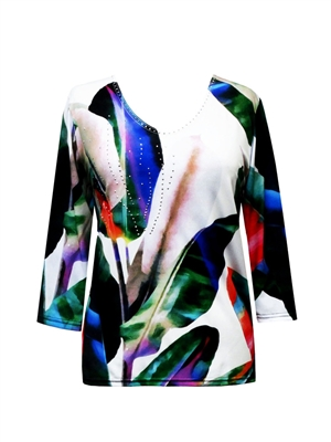 3/4 sleeve top with rhinestones - vivid leaves on white