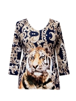 3/4 sleeve top with rhinestones - tiger 2