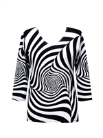 3/4 sleeve top with rhinestones - black and white swirls