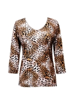 3/4 sleeve top with rhinestones - leopard print