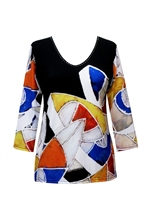 3/4 sleeve top with rhinestones - modern shapes 2