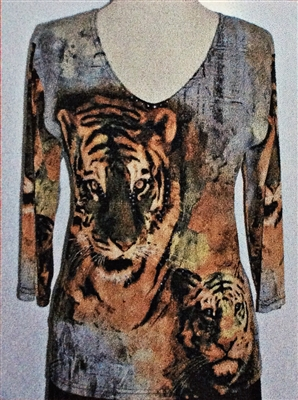 3/4 sleeve top with rhinestones - tigers