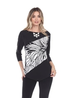 Asymmetrical top - black/white - polyester/spandex
